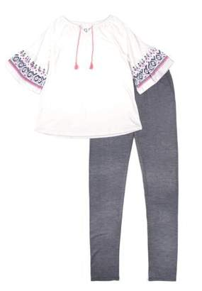 Aeropostale PS FROM Studded Print Tassel Tie Top & Legging, 2-Piece Outfit Set (Little Girls & Big Girls)