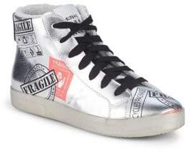 Meline Fragile Metallic Leather High-Top Sneakers