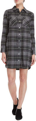 Lilla P Charcoal Plaid Flannel Shirtdress