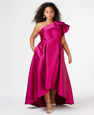 Adrianna Papell Plus Size One-Shoulder High-Low Gown