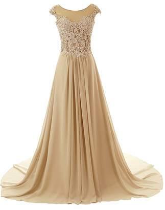 JAEDEN Long Prom Dress Lace Chiffon Bridesmaid Dress Cap Sleeve Evening Party Gown W