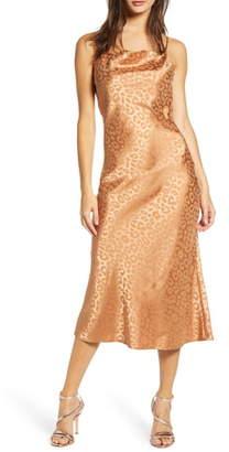 J.o.a. Tonal Leopard Print Cowl Neck Sleeveless Dress
