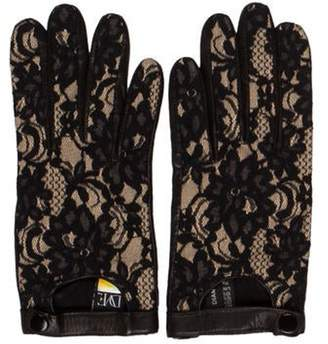 Diane von Furstenberg Lace Leather Gloves Black Lace Leather Gloves