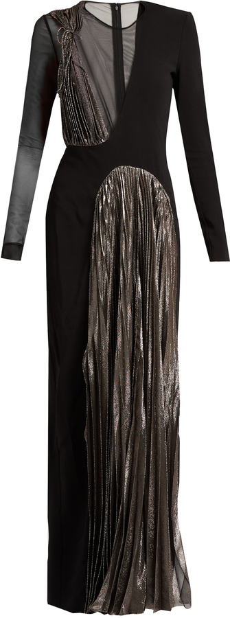 Christopher Kane CHRISTOPHER KANE Asymmetric long-sleeved cady and lamé gown