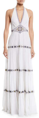 Dakota Talitha Collection V-Neck Halter Tiered Embroidered Long Cotton Dress