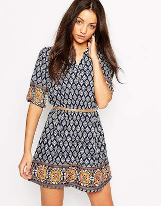Yumi Belted Dress in Border Tile Print