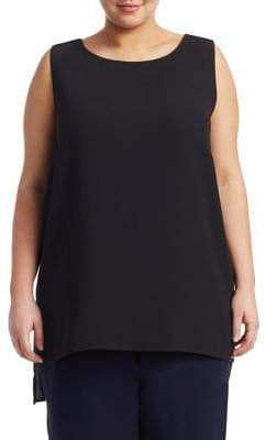 Eileen Fisher Eileen Fisher, Plus Size System Silk Boatneck Long Shell