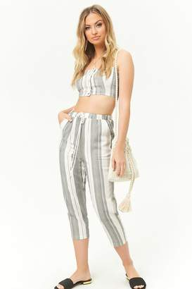 Forever 21 Striped Linen-Blend Capris