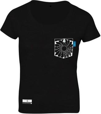 Anchor & Crew Noir Black Explorer Print Organic Cotton T-Shirt (Womens)