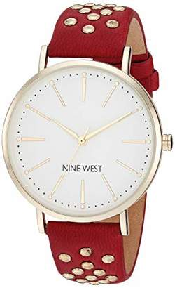 Nine West Women's NW/2200SVRD Gold-Tone and Red Strap Watch