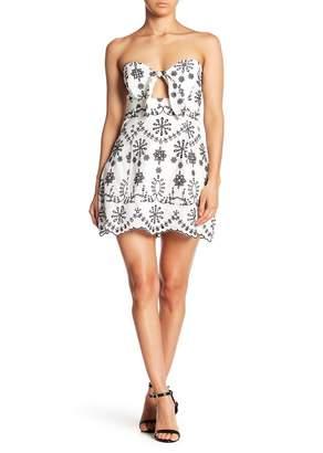 Bardot Lyndie Strapless Embroidered Mini Dress