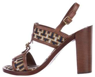Tory Burch Woven T-Strap Sandals