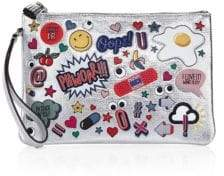 Anya Hindmarch All Over Stickers Metallic Leather Pouch