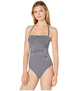 e0a86a0946c1d Lauren Ralph Lauren Textured Stripe Draped Underwire Strapless One-Piece  Swimsuit