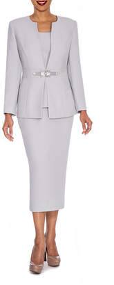 GIOVANNA SIGNATURE Giovanna Signature Women's Rhinestone Brooch 3-piece Skirt Suit
