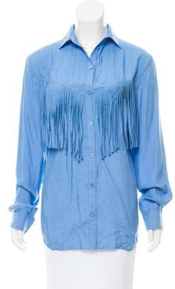 Torn By Ronny Kobo Fringe-Accented Button-Up Top w/ Tags