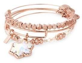 Alex and Ani Set of Three Crystal Snowflake Bangle Bracelets