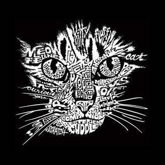 LOS ANGELES POP ART Los Angeles Pop Art Men's Big & Tall Premium BlendWord Art T-shirt - Cat Face
