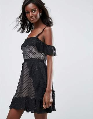 Majorelle Polka Dot Mini Evening Dress