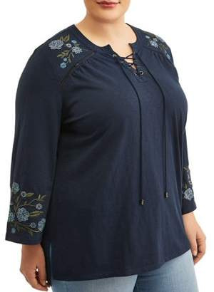 56480bf84d8 Terra   Sky Women s Plus Size Embroidered Peasant Top