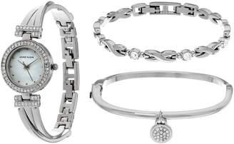 Anne Klein Crystal Bangle Watch and Bracelet Set