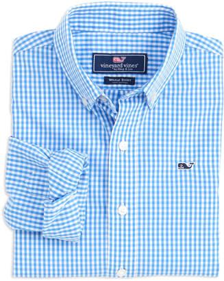 Vineyard Vines Boys Classic Gingham Whale Shirt