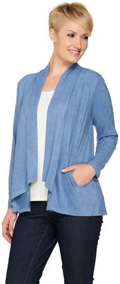 Joan Rivers Classics Collection Joan Rivers Faux Suede Drape Front Cardigan