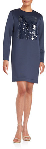 DKNY Dkny Stretch Wool Sequined Dress