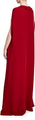 Valentino Necklace Silk Cape Gown