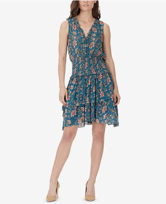 William Rast Clarissa Printed Tiered Lace-Up Dress