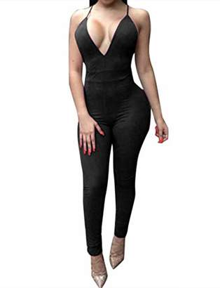 MEALIYA Women Crop Jumpsuit Rompers Sleeveless Backless Bodycon Jumpsuits Sexy