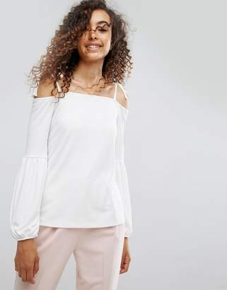 Asos Design Top in Crepe with Off Shoulder and Pretty Bell Sleeve