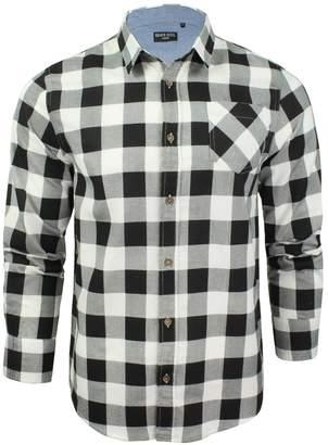Brave Soul Mens Jack Checked Check Long Sleeve Cotton Lumberjack Shirt Wht - M