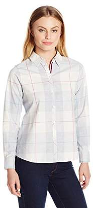Foxcroft Women's Petite Size Long Sleeve Winter Plaid Shirt