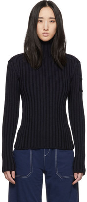 Chloé Navy Rib Knit Chunky Turtleneck