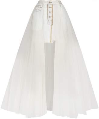 Unravel Washout Denim Tulle Skirt