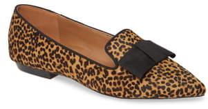 Kensie Madeline Bow Pointed Toe Genuine Calf Hair Loafer Flat