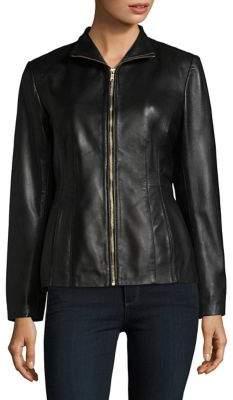Cole Haan Leather Princess-Seam Jacket