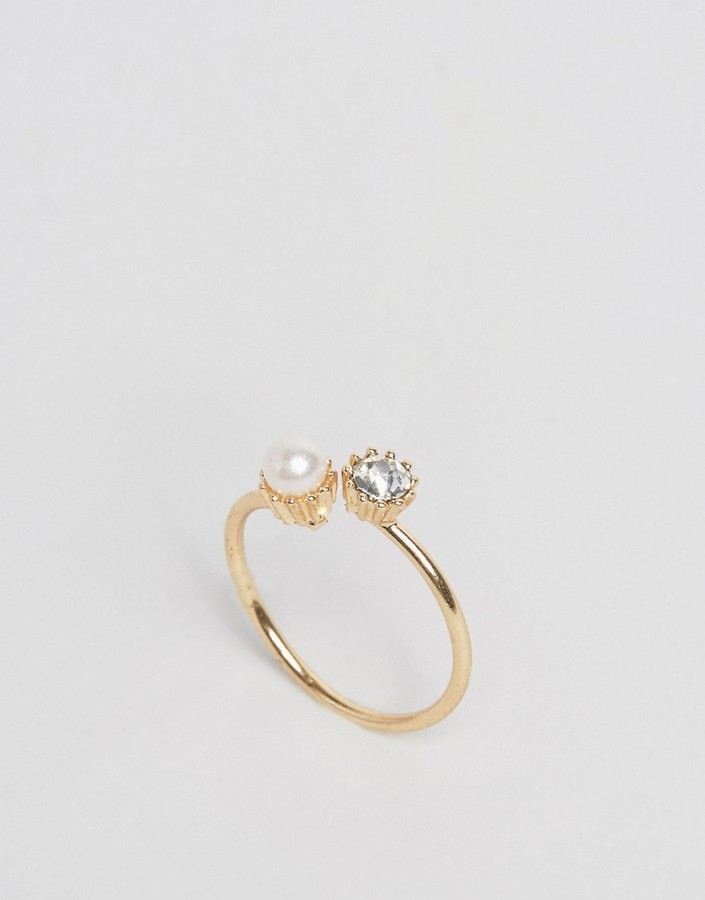 ASOS COLLECTION ASOS Open Crystal & Faux Pearl Ring