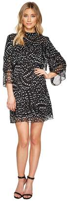 Catherine Malandrino 3/4 Sleeve Large Ruffle A-Line Dress Women's Dress
