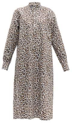 Connolly - Mandarin Collar Leopard Print Cotton Shirtdress - Womens - Blue Multi