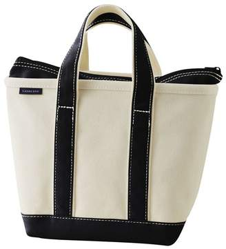 Lands' End White Small Zip Top Canvas Tote Bag