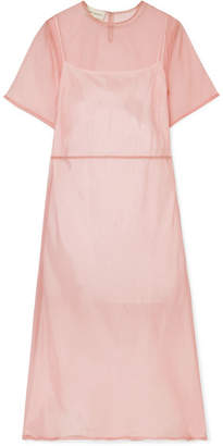 Mansur Gavriel Silk-tulle Midi Dress - Blush