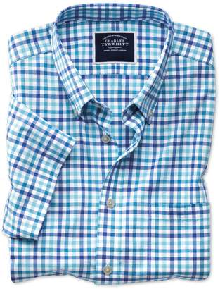 Charles Tyrwhitt Classic Fit Poplin Short Sleeve Blue Multi Gingham Cotton Shirt Single Cuff Size Large