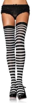 Leg Avenue Women's Nylon Striped Stockings, Black/Kelly Green, One Size