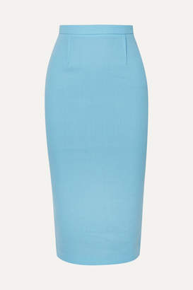 Roland Mouret Arreton Wool-crepe Pencil Skirt - Light blue