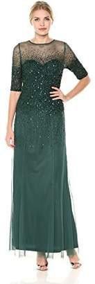 Adrianna Papell Women's 3/4 Sleeve Beaded Illusion Gown with Sweetheart Neckline,8