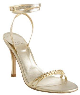 Stuart Weitzman gold leather 'Tempt' ankle wrap sandals