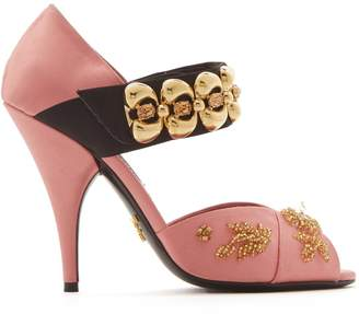 Prada Embellished cross-strap satin sandals