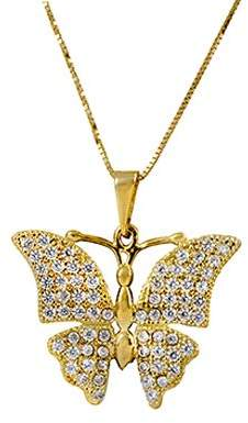 "ADI Paz 14K Crystal Butterfly Pendant w/ 18"" Chain"